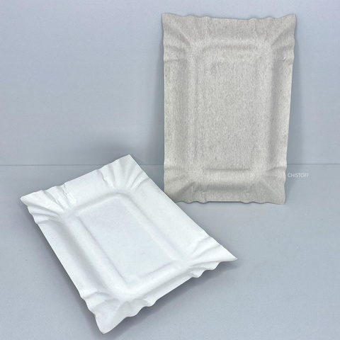 Тарелка бумажная картон прямоугольная