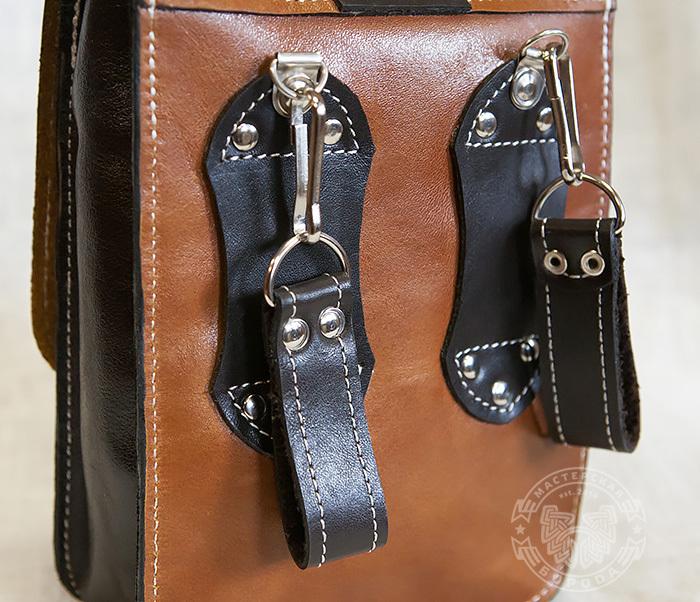 BAG379-2 Мужская кожаная сумка на пояс коричневого цвета, ручная работа фото 04