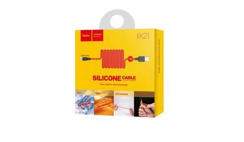 Силиконовый USB кабель microUSB HOCO X21 1 м Белый