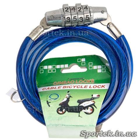 Велозамок з кодом на сталевому тросі 5 х 900 мм з синім вініловим покриттям