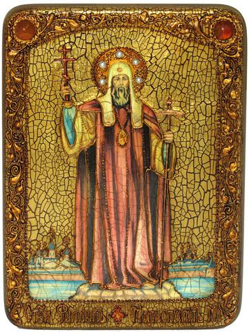 Инкрустированная икона Святитель Филипп, митрополит Московский 29х21см на натуральном дереве, в подарочной коробке