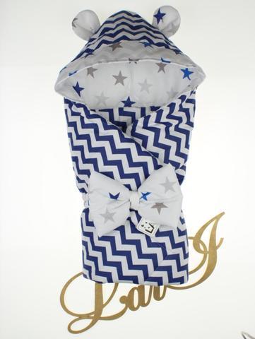 Демисезонный конверт  одеяло на выписку из роддома Микки (темно синий\волна)