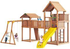 Детская площадка Jungle Palace + Jungle Cottage (без горки) + жесткий мост + Rock + Рукоход +сидушка