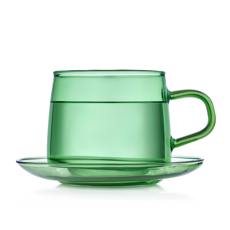 Чашка с блюдцем, чайная пара Чайная пара зеленого цвета, 350 мл TS_31-1.jpg