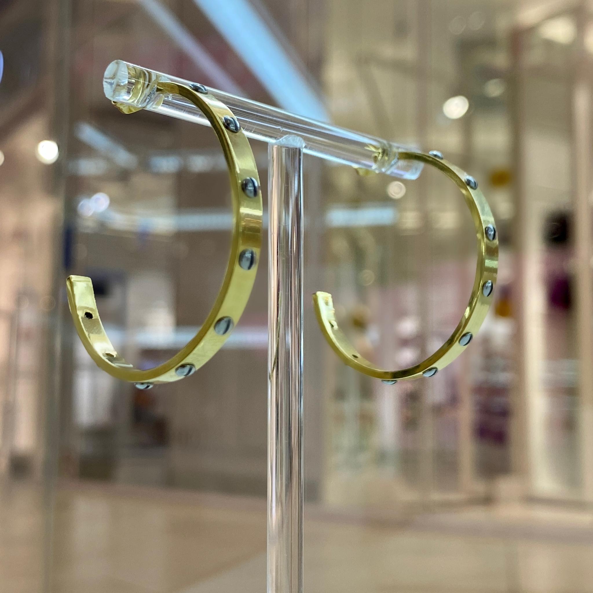 Серьги-конго со стилизованными болтиками 3,5 см сталь (биколор, золотистый)