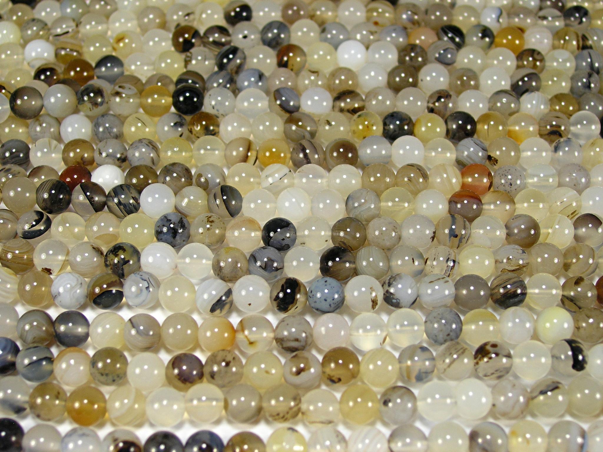 Нить бусин из агата мохового, шар гладкий 6мм