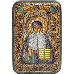 Инкрустированная Икона Преподобный Максим Грек 15х10см на натуральном дереве, в подарочной коробке