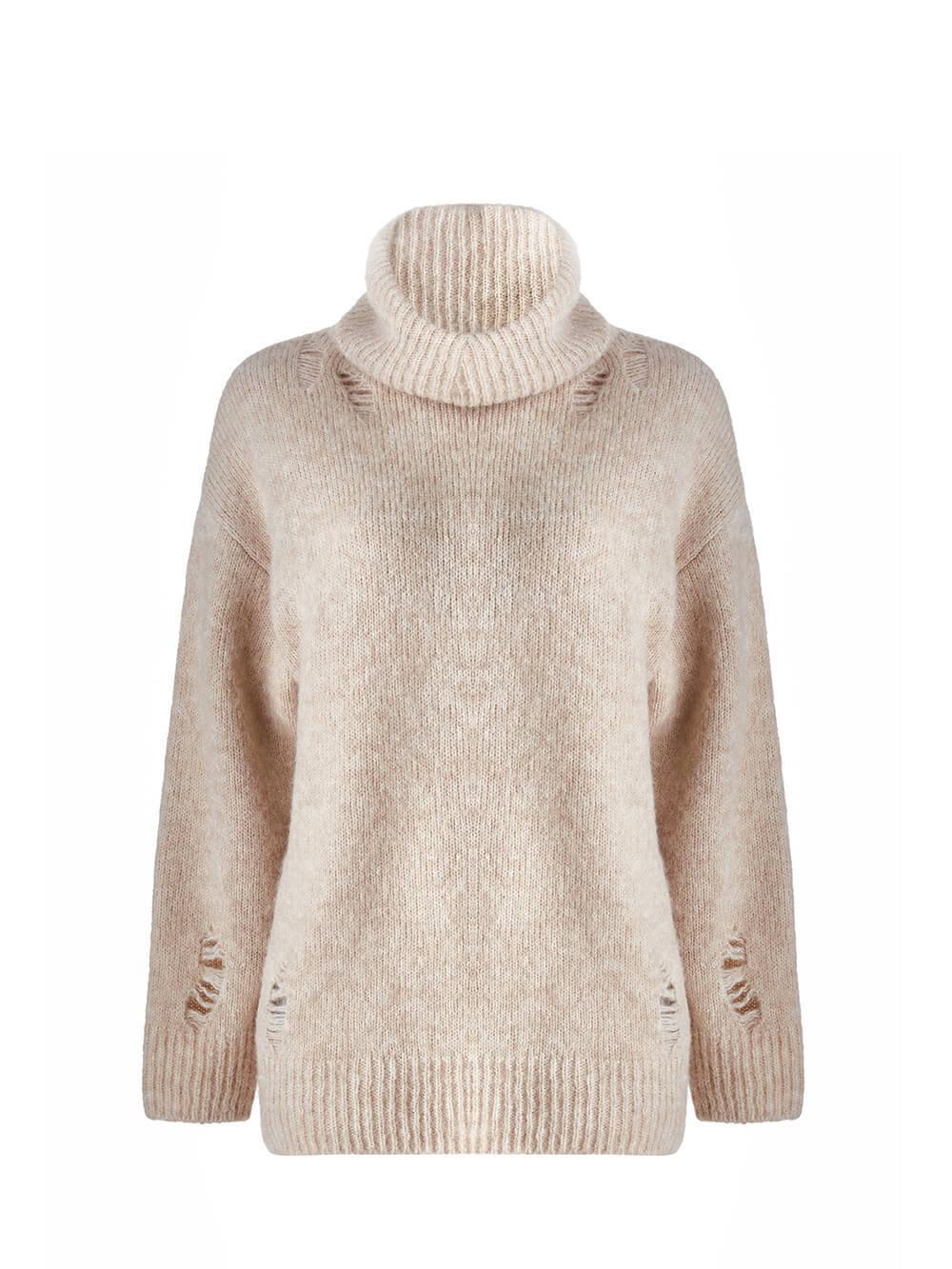 Женский свитер бежевого цвета из шерсти - фото 1
