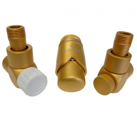 Комплект термостатический Золото Мат Форма осевая, левый. Для меди GZ 1/2 x 15x1
