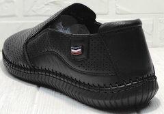Кожаные туфли мужские мокасины лето street casual Ridge Z-291-80 All Black.