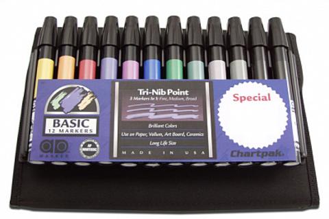 Набор маркеров CHARTPAK BASIC Travel Case, основные цвета, 12 цветов