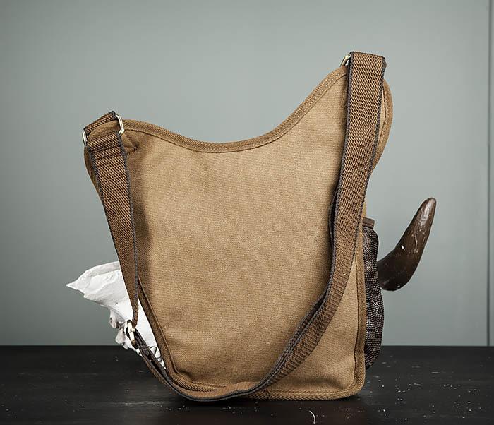 BAG307-2 Текстильная набедренная сумка коричневого цвета фото 07