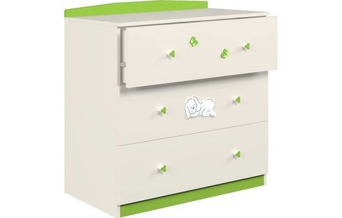 Комод Polini kids Зайки 3190, бежевый-зеленый