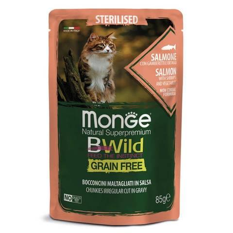 Monge Cat BWild Grain Free Консервы для стерилизованных кошек из лосося с креветками и овощами, беззерновые (пауч)