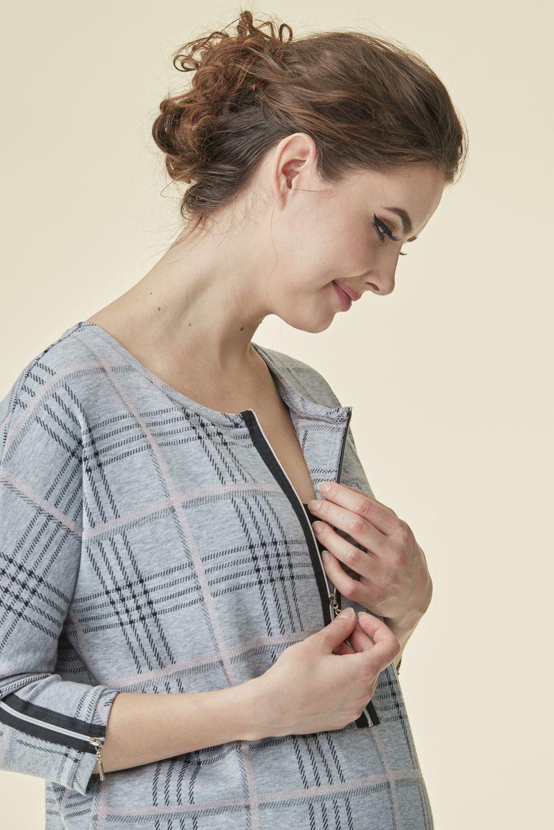 Туника для беременных и кормящих 07236 черный-серый