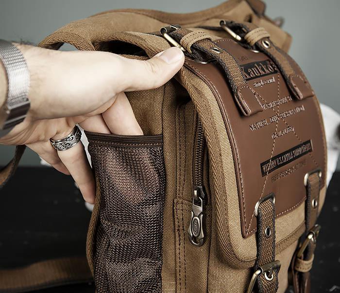 BAG307-2 Текстильная набедренная сумка коричневого цвета фото 08