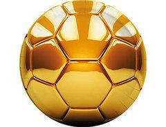 Тарелки Футбол золотой 23 см, 8 шт, 1 уп.
