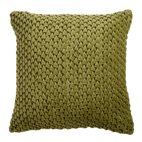 Подушка декоративная стеганая из хлопкового бархата оливкового цвета Essential, 45х45 см