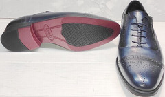 Темно синие туфли мужские оксфорды Ikoc 3805-4 Ash Blue Leather.