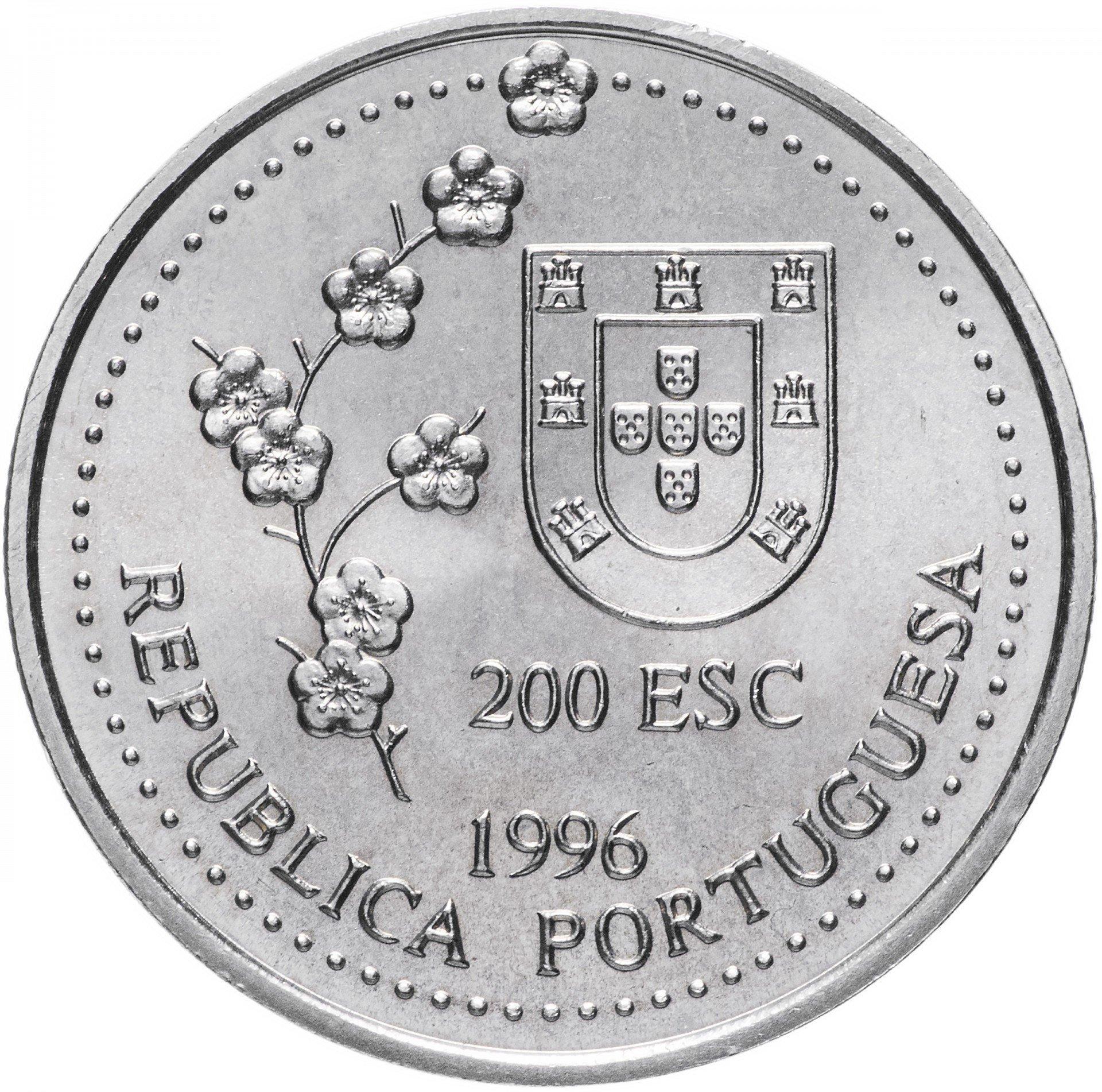 200 эскудо Португалия. Открытие португальцами Тайваня в 1582 году. Парусник. 1996 г. UNC