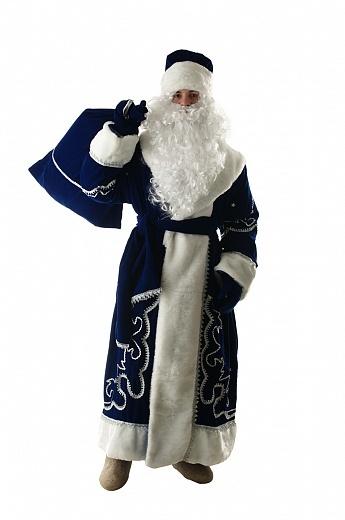 Костюм Дед Мороз из синего бархата с орнаментом