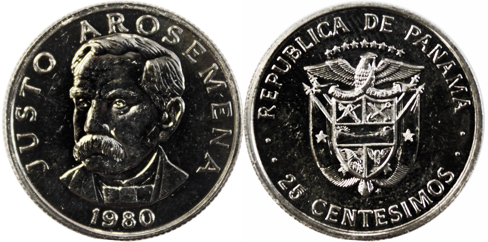 25 сентесимо. Панама. 1980 год. UNC