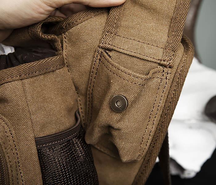 BAG307-2 Текстильная набедренная сумка коричневого цвета фото 10