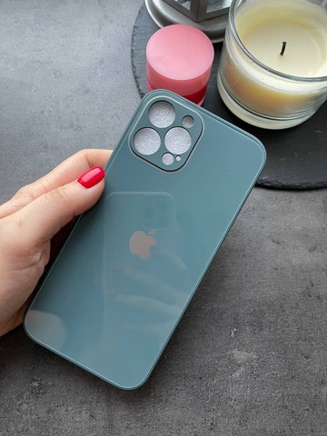 Чехол iPhone 12 /6,1''/ Glass Pastel Full Camera /pine green/