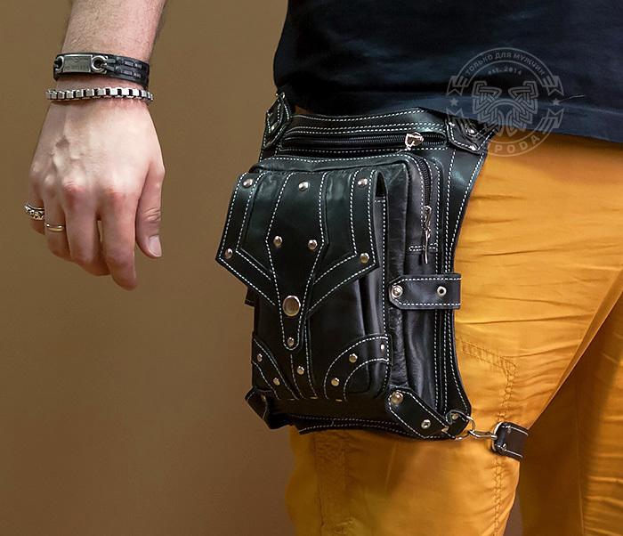 BAG373-1 Мужская сумка на бедро из натуральной кожи, ручная работа