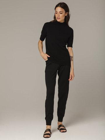 Черный джемпер из тонкого кашемира с коротким рукавом и стойкой - фото 4