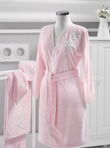 Махровый женский халат PANDORA KIMONO розовый