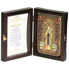 Инкрустированная Икона Преподобный Никита Столпник, Переславский чудотворец 15х10см на натуральном дереве, в подарочной коробке