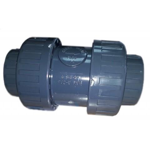Обратный клапан 2-х муфтовый подпружиненный ПВХ 1,0 МПа диаметр 63 PoolKing