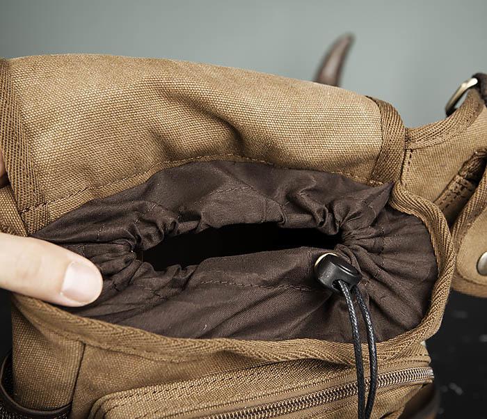 BAG307-2 Текстильная набедренная сумка коричневого цвета фото 11