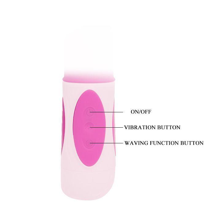Розовый вибратор-ротатор с анальным и клиторальным стимуляторами - 22,3 см.