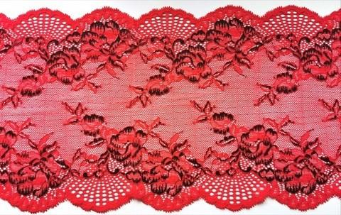 Эластичное кружево, красное/черное, 22см (Артикул: EK-1010), м