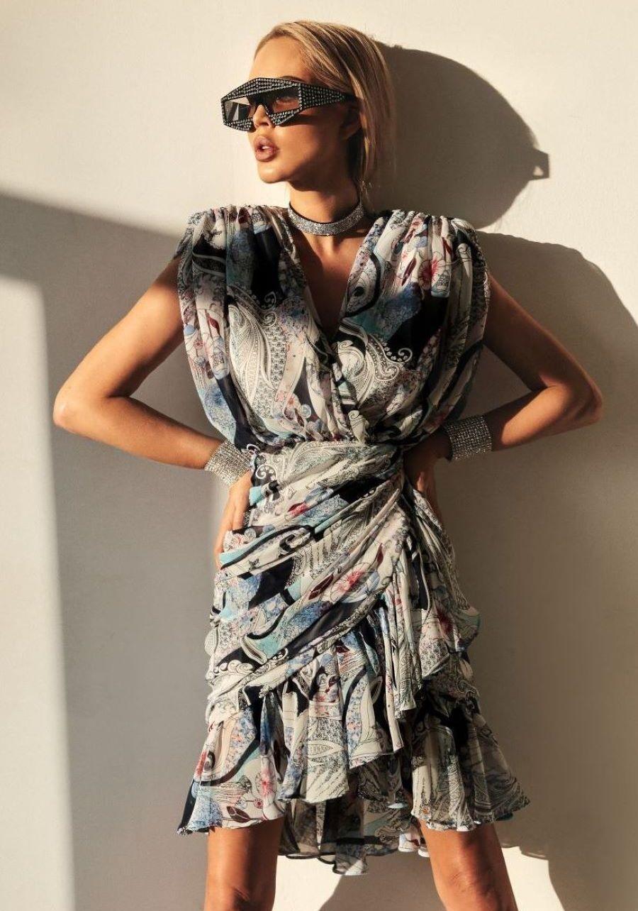 Платье  из шифона с крупным принтом