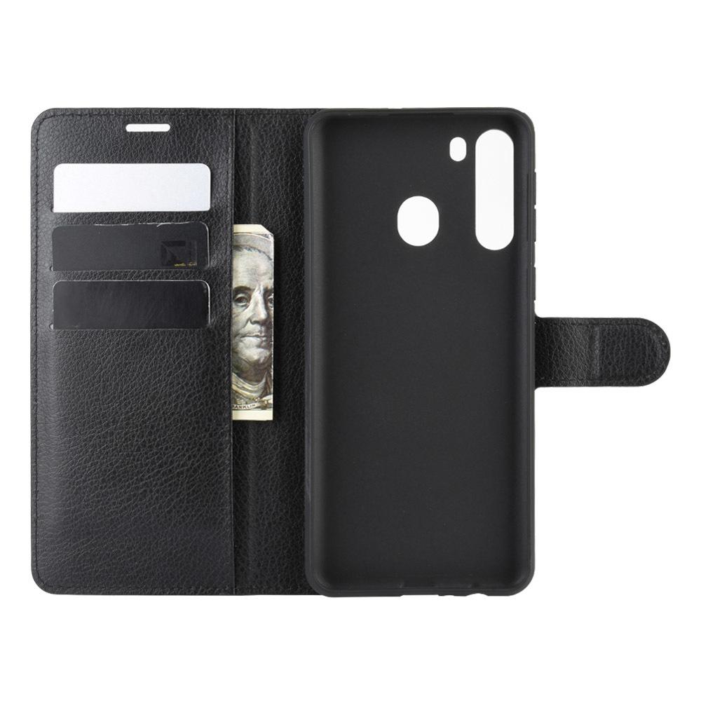 Чехол книжка черного цвета на Samsung Galaxy A21, с отсеком для карт и подставкой от Caseport