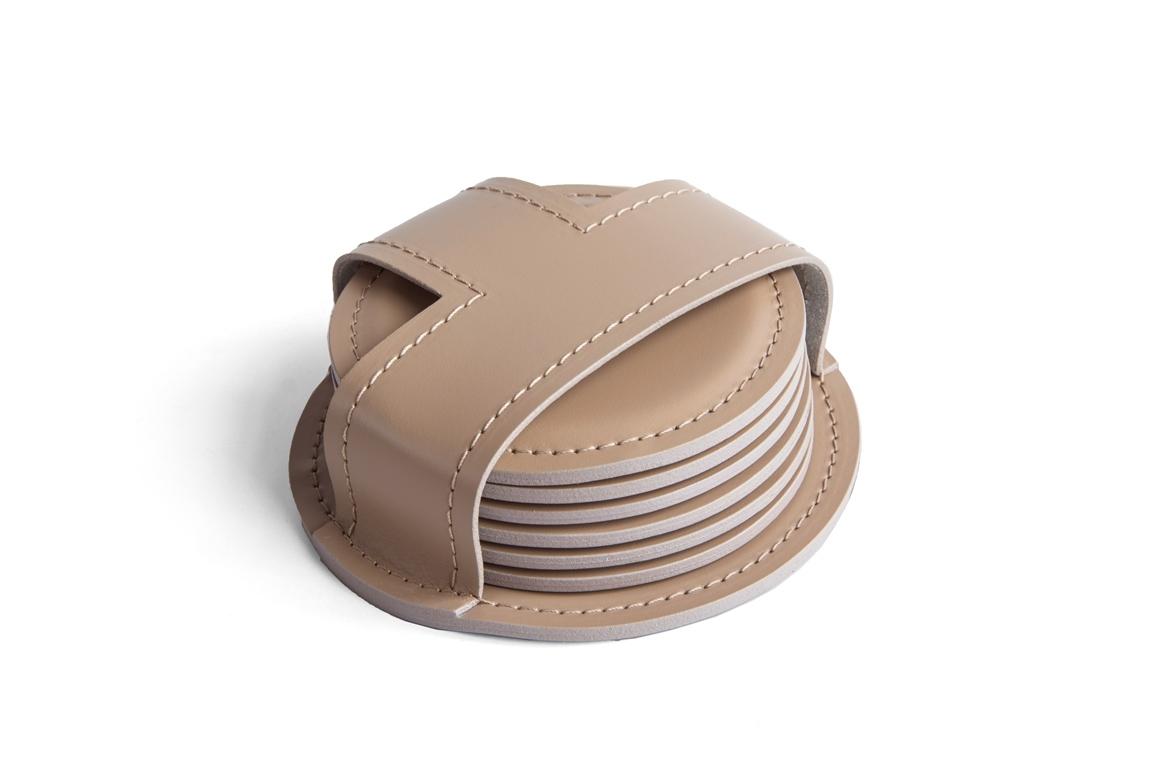 Набор костеров (6 шт) из кожи цвет CAFE LATTE