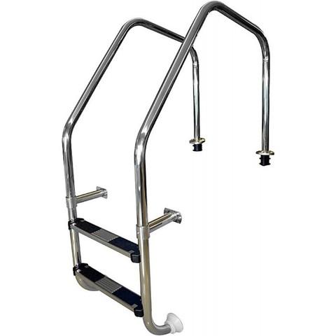 Лестница перелив. желоба 2 ступ. с накладкой люкс, нерж. AISI-304 POOLKING