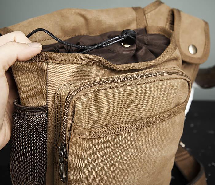 BAG307-2 Текстильная набедренная сумка коричневого цвета фото 12