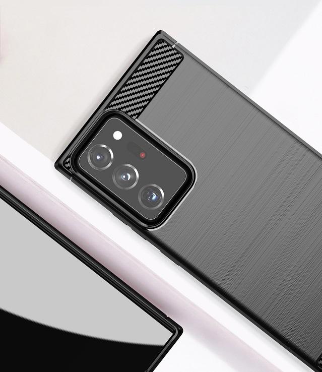 Чехол черного цвета в стиле под карбон на Samsung Galaxy Note 20 Ultra, серия Carbon от Caseport