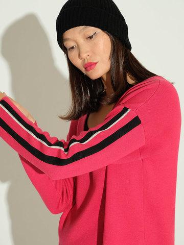Женский джемпер красного цвета из шелка и кашемира - фото 2