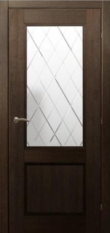 Дверь ДО 3324 (чёрный дуб, остекленная CPL), фабрика Краснодеревщик