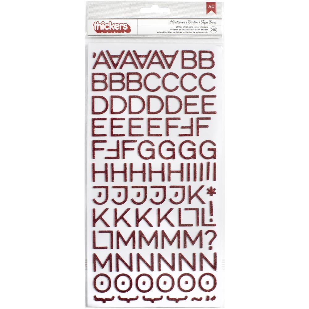 Набор чипборда алфавит с глиттером