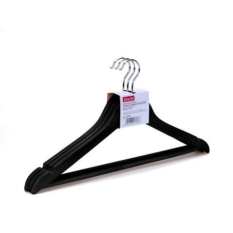 Вешалка-плечики деревянная Attache с выемками и перекладиной черная (размер 48-50, 3 штуки в упаковке)