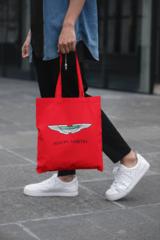 Мужская сумка-шоппер с принтом Астон Мартин (Aston Martin) красная 002