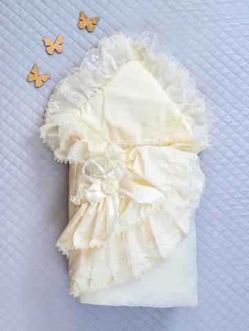 Зимний конверт одеяло Луиза с подушкой (кремовый)
