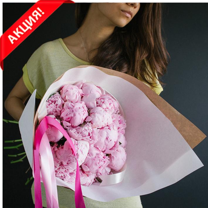 Купить букет 19 розовых пионов Сара Бернар в Перми