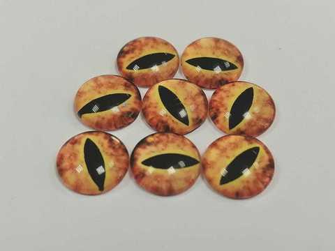 Глазки стеклянные,  10мм, оранжевые, 1уп-8шт. (1167)